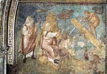 Jacopo Torriti: La construction de l'arche. 1290s. Fresque. Assise, église supérieure Saint François