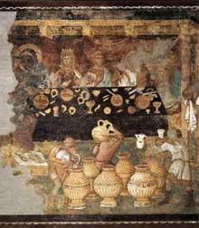 Jacopo Torriti: Les noces de Cana. 1290s. Fresque. Assise, église supérieure Saint François. Cette scène a été probablement peinte par un assistant du maître