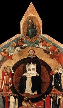 Francesco Traini: Le triomphe de Saint Thomas d'Aquin. Vers 1340. Tempera sur bois, 375 x 258 cm. Pise, Santa Caterina