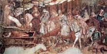 Francesco Traini (actif entre 1321 et 1363): le triomphe de saint Thomas d'Aquin. Vers 1340. Tempera sur bois, 375 x 258 cm. Pise, église sainte Catherine
