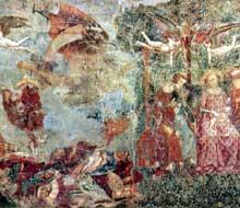 Francesco Traini: Triomphe de la mort, vue d'ensemble. Vers 1350. Pise, Campo Santo