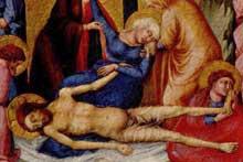 Ugolino Lorenzetti: Ugolino Lorenzetti: «La déploration du Christ.» Vers 1350. Bois, 40,7 x 48,3 cm. Cambridge (Massachusetts), Fogg Art Museum
