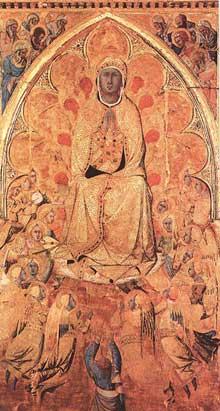 Ugolino Lorenzetti: Assomption de la Vierge. 1340s. Panneau de bois. Sienne, Pinacothèque Nationale