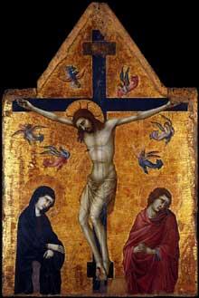 Ugolino da Nerio: Crucifixion avec la vierge et saint Jean l'Evangéliste. 1330-1335. Tempera sur panneau de bois, 135 x 90 cm. Madrid, Museo Thyssen-Bornemisza