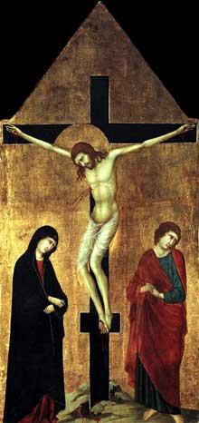 Ugolino da Nerio: Crucifixion avec la vierge et saint Jean l'Evangéliste. Panneau de bois, 105 x 48 cm.Collection privée