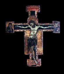 Ugolino Di Tedice: croix et Christ crucifié. 1260-1265. Tempera sur bois, 62 x 90 cm. Saint-Pétersbourg, musée de l'Ermitage