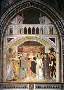 Lippo Vanni: Les fiancailles de la Vierge. 1360s. Fresque. Sienne, San Leonardo al Lago