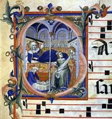 Lippo Vanni: La naissance de la vierge. 1345. Enluminure, 150 x 130 mm. Sienne, Musée de l'oeuvre du Dôme