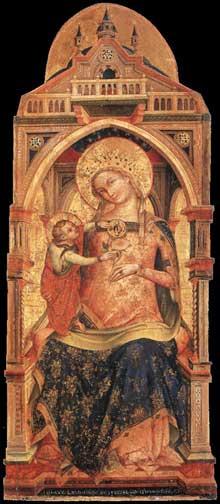 Lorenzo Veneziano (actif entre 1356 et 1372). Madone et enfant. 1372. Bois peint, 126 x 56 cm Musée du Louvre, Paris
