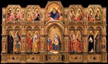 Lorenzo Veneziano (actif entre 1356 et 1372). Le polyptique Lion, 1357-59. Tempera sur panneau, 258 x 432cm. Venise, Gallerie dell'Accademia