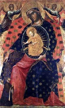 Paolo Veneziano (v. 1300-1360): la madone avec deux donateurs. Vers 1325. Tempera sur panneau, 142 x 90 cm. Venise, Gallerie dell'Accademia