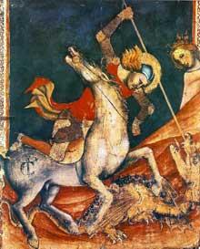Vitale da Bologna: Saint Georges et le dragon. Vers 1350. Tempera sur bois, 80 x 70 cm. Bologne, Pinacothèque. Nationale