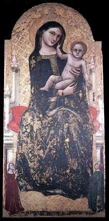 Vitale da Bologna: Madone à l'enfant. 1345. Tempera sur bois, 155 x 73 cm. Imola, Museo Civico d'Arte Industriale