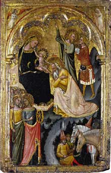 Vitale da Bologna : Adoration des mages. 1353-1355. Tempera sur bois, 60,4 x 38,7 cm. Edimbourg, National Gallery of Scotland