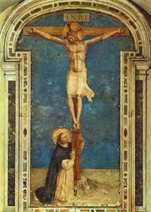 Fra Angelico (v. 1400-1455). Saint Dominique au pied de la croix. 1440s. Fresque, 239 x 177 cm. Couvent San Marco, Florence