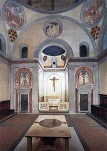 Filippo Brunelleschi (1377-1446): la Vieille Sacristie de San Lorenzo. 1418-1428. Florence, église san Lorenzo. (Histoire de l'art - Quattrocento