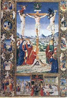 Attavante degli Attavente (1452-1525): page enluminée d'un missel. 1485-1487. Bruxelles, Bibliothèque Royale AlbertI. (Histoire de l'art - Quattrocento