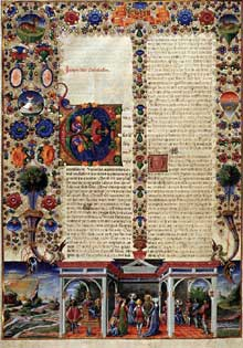 Taddeo Crivelli (actif entre 1451 et 1479): Bible de Borso d'Este. 1455-1461. Enluminure sur parchemin. Modène, Biblioteca Estense. (Histoire de l'art - Quattrocento