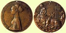 Pisanello (1395-1455): Cecilia Gonzaga. 1447. Bronze, diamètre 8,7cm. Washington, National Gallery of Art. (Histoire de l'art - Quattrocento
