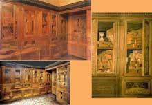 Baccio Pontelli (1450 – 1495): Studiolo de Frederico de Montefeltro, Duc d'Urbino, Lambris de marqueterie, Palais Ducal Urbino. (Histoire de l'art - Quattrocento