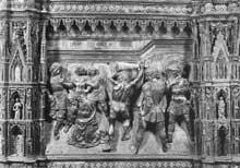 Andrea Verrocchio (1435-1488): la décollation de saint Jean Baptiste (détail de l'autel). 1477-1480. Argent. Florence, baptistère. (Histoire de l'art - Quattrocento