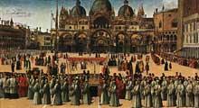 Gentile Bellini (1429-1507): Procession sur la place saint Marc. 1496. Huile et tempera sur panneau, 367 x 745 cm. Venise, Galleria dell'Accademia. (Histoire de l'art - Quattrocento