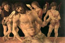 Giovanni Bellini (1430-1516): Piéta (détail). Vers 1474. Tempera sur panneau de bois, 91 x 131 cm. Rimini, Pinacoteca Comunale. (Histoire de l'art - Quattrocento