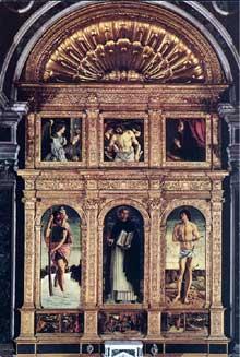 Giovanni Bellini (1430-1516): Polyptyque de saint Vincent Ferrer. Tempera sur panneau. Venise, basilique de saint Jean et saint Paul. (Histoire de l'art - Quattrocento