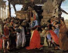Sandro Botticelli: l'adoration des mages. 1470-1475.Tempera sur panneau. Diamètre 131,5 cm. Londres, National Gallery