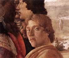 Sandro Botticelli: l'adoration des mages, détail: autoportrait de l'artiste. 1470-1475.Tempera sur panneau. Diamètre 131,5 cm. Londres, National Gallery