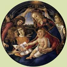 Sandro Botticelli: la madone du magnificat. 1480-1480. Tempera sur panneau; diamètre: 118cm.Florence, les Offices