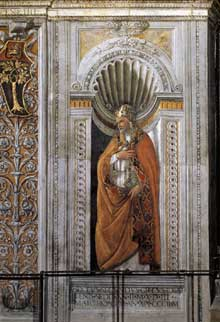 Botticelli: le pape SixteII. 1481. Fresque, 210 x 80cm. Chapelle Sixtine, Vatican