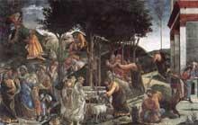 Botticelli: Scènes de la vie de Moïse. 1481-1482. Fresque, 348,5 x 558 cm Chapelle Sixtine, Vatican