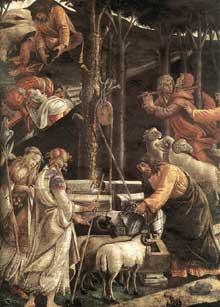 Botticelli: Scènes de la vie de Moïse. 1481-82. Fresque, 348,5 x 558 cm Chapelle Sixtine, Vatican