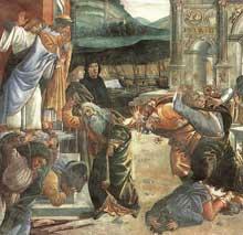 Botticelli Le châtiment de Coré, Datan et Abiram. 1481-82. Fresque, 348,5 x 570 cm. Chapelle Sixtine, Vatican