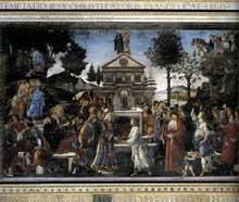 Botticelli: les trois tentations du Christ. 1481-1482. Fresque, 345 x 555 cm. Chapelle Sixtine, Vatican