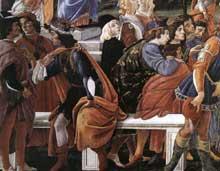 Botticelli: les trois tentations du Christ. Détail. 1481-1482. Fresque, 345 x 555 cm. Chapelle Sixtine, Vatican