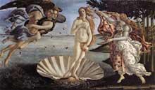 Sandro Botticelli: la naissance de Vénus. vers 1485. Tempera sur toile, 172.5 x 278.5 cm. Florence, galerie des Offices