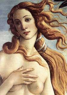 Sandro Botticelli (1445-1500): la naissance de Vénus, détail. Vers 1485. Tempera sur toile. Florence, galerie des Offices. (Histoire de l'art - Quattrocento