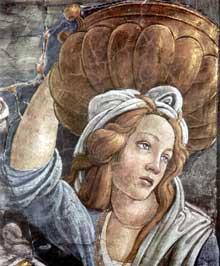 Botticelli: Scènes de la vie de Moïse. Détail: Moïse mène le peuple vers la Mer Rouge. 1481-1482. Fresque, 348,5 x 558 cm Chapelle Sixtine, Vatican