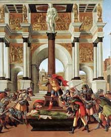 Sandro Botticelli: l'histoire de Lucrèce. 1496-1504. Tempera sur panneau, 83,5 x 180 cm. Boston, Isbella Stewart Gardner Museum