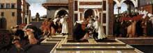Sandro Botticelli: le dernier miracle et la mort de saint Zenobius. 1500-1505. Tempera sur panneau, 66 x 182 cm. Dresde, Gemäldegalerie