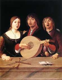 Lorenzo Costa (1460-1535): Concert. 1485-1495. Huile sur bois, 95,3 x 75,6cm. Londres, National Gallery.  (Histoire de l'art - Quattrocento