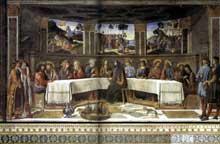 Cosimo Rosselli: la Cène. 1481-1482. Fresque, 349 x 570 cm. Chapelle Sixtine, Vatican