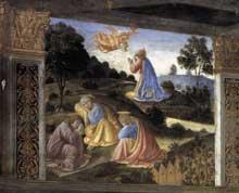 Cosimo Rosselli: la Cène, détail: le Christ au Jardin des Oliviers. 1481-1482. Fresque, 349 x 570 cm. Chapelle Sixtine, Vatican