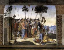 Cosimo Rosselli: la Cène, détail: l'arrestation du Christ, par Biagio d'Antonio Tucci. 1481-1482. Fresque, 349 x 570 cm. Chapelle Sixtine, Vatican