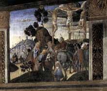 Cosimo Rosselli: la Cène, détail: la crucifixion, par Biagio d'Antonio Tucci. 1481-1482. Fresque, 349 x 570 cm. Chapelle Sixtine, Vatican