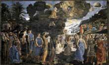 Cosimo Rosselli: les tables de la loi et le veau d'or. 1481-1482. Fresque, 350 x 572 cm. Chapelle Sixtine, Vatican