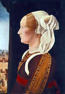 Ercole de�Roberti (1456-1496)�: Portrait de Ginevra Bentivoglio. Vers 1480. Huile sur bois, 54 x 39 cm. Washington, National Gallery of Art. (Histoire de l�art - Quattrocento