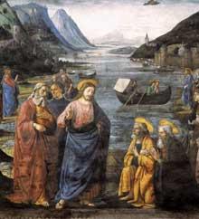Domenico Ghirlandaio: L'appel des apôtres Pierre et André, détail. 1481. Fresque, 349-570. Vatican, Chapelle Sixtine